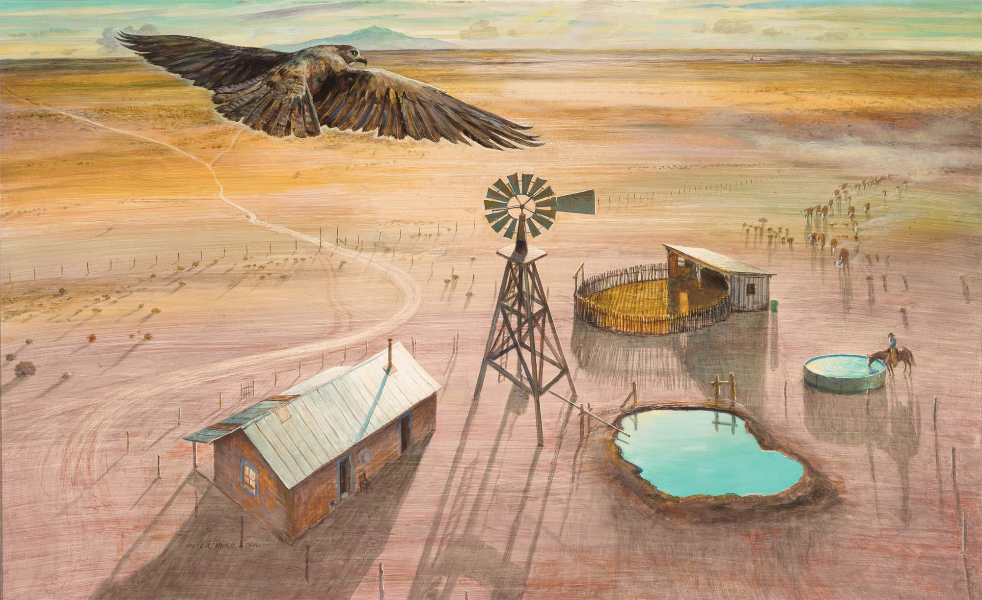 Peter Hurd, A Ranch on the Plains, 1954. Tempera on hardboard, 29 3/4 x 47 1/8 in. (75.6 x 119.7 cm). FAMSF, gift of the California Brewing Company, 54.37
