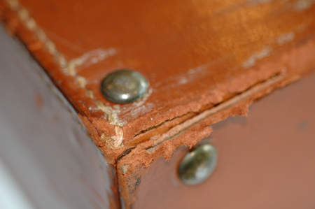 Deteriorated leather corner