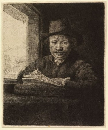 Rembrandt's Self-Portrait Drawing at a Window, 1648