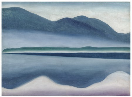 An abstracted horizontal landscape of a still lake in shades of blue, grey, and green