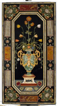 Harstone panel with vase of flowers motif
