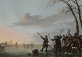 Aelbert Cuyp, Fishing under the Ice on the Maas (detail), 17th century. Oil on panel transferred to hardboard. FAMSF, museum purchase, Roscoe and Margaret Oakes Income Fund, 63.22