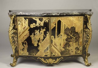 Strawberry Hill House commode, England, London, 1763. Pierre Eloy Langlois, cabinetmaker. Chinese lacquer, japanning, ormolu mounts, and verde antico marble top. FAMSF, gift of Mrs. William P. Roth, 1985.58a–b