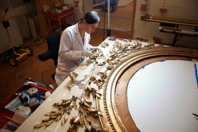 conservation treatment of a large mirror
