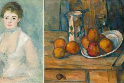 "L: Auguste Renoir, ""Madame Henriot"", ca. 1876.  R: Paul Cézanne, ""Still Life with Milk Jug and Fruit"", c. 1900."