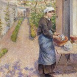 In the Garden at Pontoise: A Young Woman Washing Dishes, 1882
