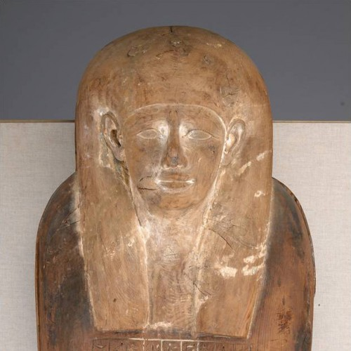Anthropoid coffin of Iret-hor-irou, Egyptian, Dynasty 30, 380–343 BC. Cedar with traces of paint. FAMSF, gift of Diane B. Wilsey in memory of Alfred S. Wilsey, 2002.2a–b