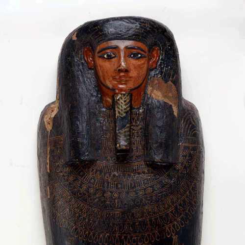 Coffin of Irethorrou, Egyptian, Akhmim, ca. 500 BC. Wood with polychrome. FAMSF, gift of First Federal Trust Company (from the Estate of Jeremiah Lynch), 42895