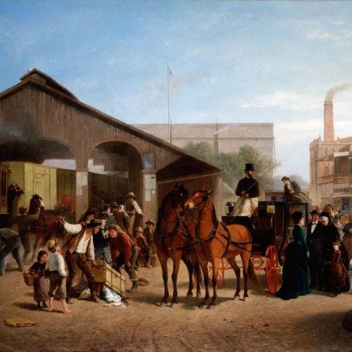 "William Hahn, ""Sacramento Railroad Station"", 1874. Oil on canvas , 53 3/4 x 87 3/4 in. (136.5 x 222.9 cm). FAMSF, museum purchase, M. H. de Young Endowment Fund, 54936"