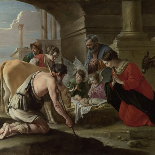 """Le Nain, """"The Adoration of the Shepherds"""", ca. 1635–1640. Oil on canvas, 43 x 54 5/8 in. National Gallery, London, NG 6331. Photo National Gallery, London, UK / Bridgeman Images"""
