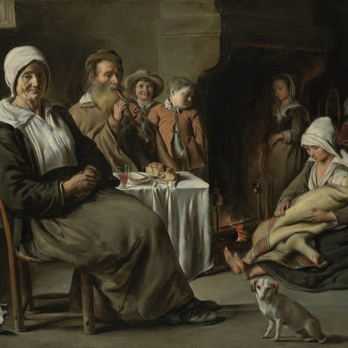 """Le Nain, """"Peasant Interior with Old Flute Player"""", ca. 1642. Oil on canvas, 21 ¼ x 24 ½ in. Kimbell Art Museum, Fort Worth, Texas, AP 1984.22"""