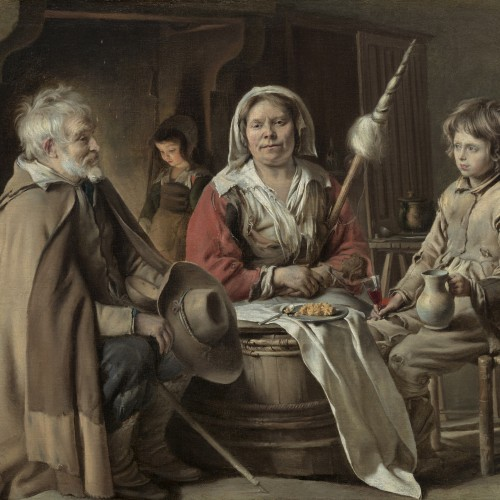 """Le Nain, """"Peasant Interior"""", ca. 1640. Oil on canvas, 21 7/8 x 25 ½ in. National Gallery of Art, Washington, DC, Samuel H. Kress Collection, 1952.2.20"""
