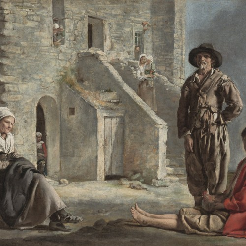 """Le Nain, """"Peasants before a House"""", ca. 1640. Oil on canvas, 21 3/4 x 26 5/8 in. FAMSF, Museum purchase, Mildred Anna Williams Collection, 1941.7"""