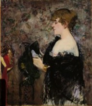 painting of woman in hat shop