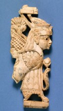 Nimrud Ivory Plaque with Winged Human-headed Sphinx, 8th–7th century BC.