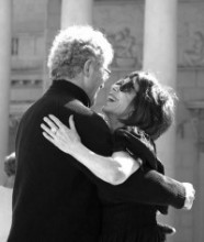Terence Clarke and Beatrice Bowles dancing tango in the Court of Honor at the Legion of Honor museum in San Francisco