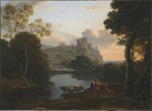 Lorrain, View of Tivoli at Sunset,  ca. 1642–1644
