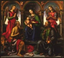 Raffaellino del Garbo (Italian, 1466–1524). Madonna Enthroned with Saints and Angels, 1502. Oil on wood panel. Gift of the Samuel H. Kress Foundation