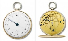 Abraham-Louis Breguet and Antoine-Louis Breguet, subscription watch, sold in 1798. Silver case with gold fillets, enamel dial, and ruby cylinder escapement, diameter: 2 3/8 in. (6.2 cm). Collection Montres Breguet S.A.