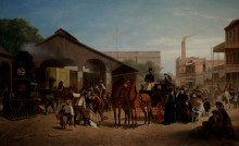 """William Hahn, """"Sacramento Railroad Station"""", 1874. Oil on canvas , 53 3/4 x 87 3/4 in. (136.5 x 222.9 cm). FAMSF, museum purchase, M. H. de Young Endowment Fund, 54936"""