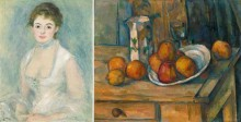 Renoir painting of a woman and Cezanne still life