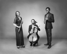 Triple WaveLength (L-R): Victoria Hauk, flute; Juan David Mejia, cello; and Marcus Phillips, oboe and English horn. Photo by Christopher Howard.