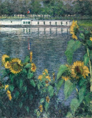 """Gustave Caillebotte, """"Sunflowers along the Seine,"""" ca. 1885–1886"""