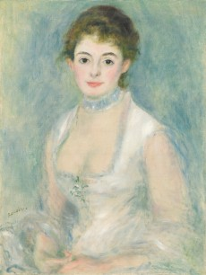 An impressionist portrait of a woman with brown hair in a white dress before a pale blue background.