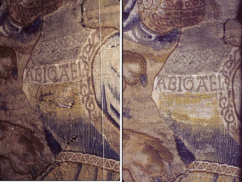 Left: Ripped panel beneath the name Abigael; Right: Repaired area