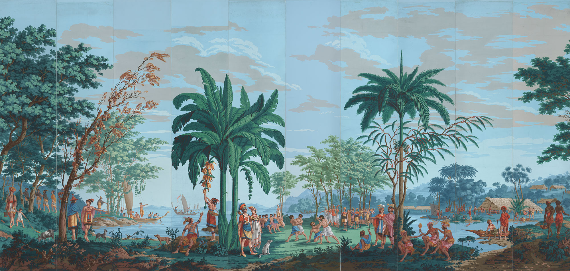 """""""Les Sauvages de la Mer Pacifique (Native Peoples of the Pacific Ocean)"""" is believed to be one of the first panoramic wallpapers ever created—it inspired artist Lisa Reihana."""