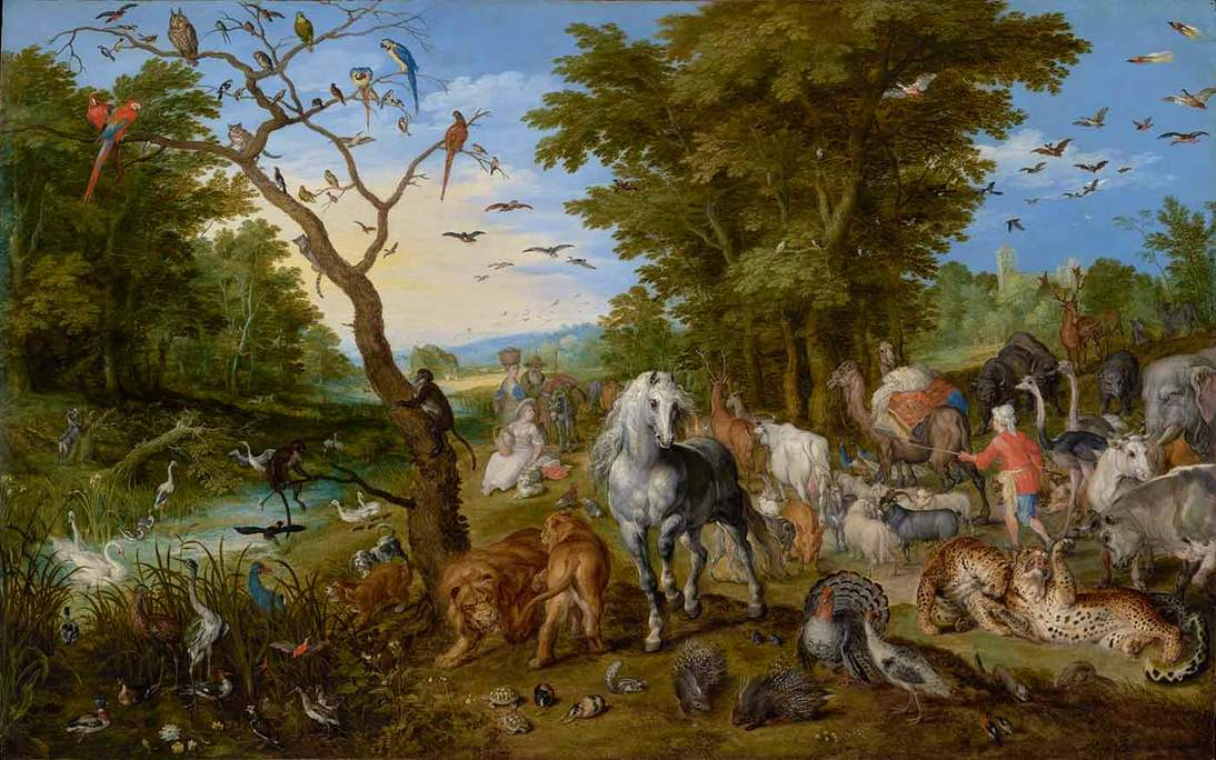 "Jan Brueghel the Elder, ""The Entry of the Animals into Noah's Ark,"" 1613. Oil on panel, 54.6 x 83.8 cm. The J. Paul Getty Museum, Los Angeles. 92.PB.82"