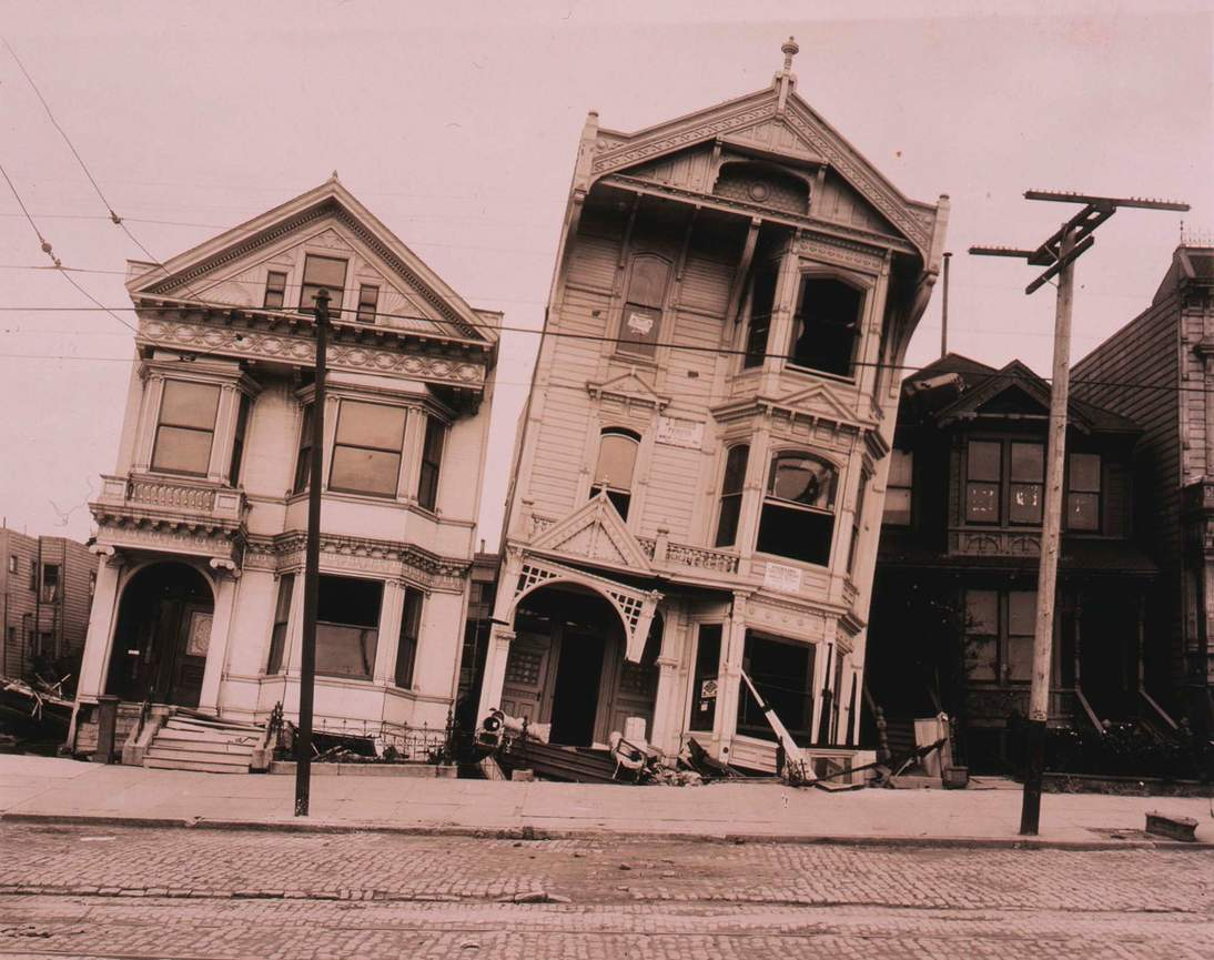"""Arnold Genthe, """"Untitled (Tilted wooden row houses after the earthquake)"""", 1906. Cellulose nitrate negative 146 x 86 mm (5 3/4 x 3 3/8 in.) Fine Arts Museums of San Francisco, Museum purchase, James D. Phelan Bequest Fund 1943.407.13"""