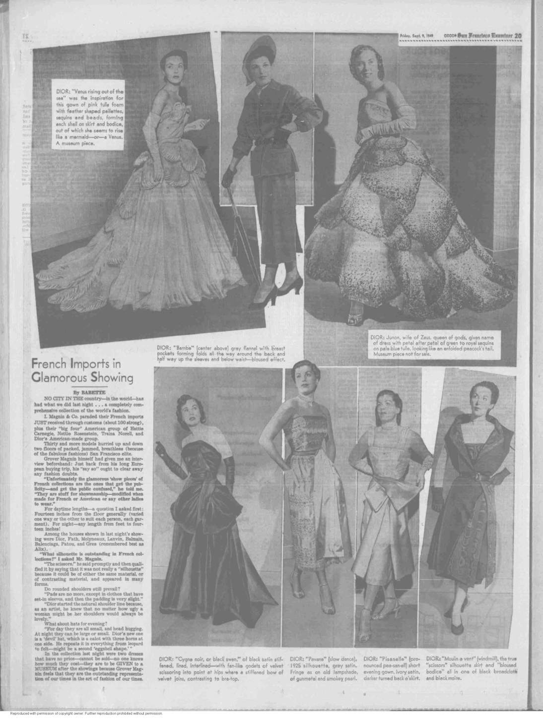 """Junon"" and ""Venus"" appear in ""The San Francisco Examiner"" in a spread dated September 9, 1949."