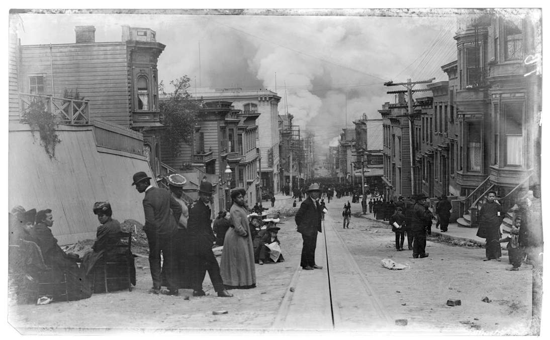 "Arnold Genthe, ""Untitled (Street scene of people watching approaching fire)"", 1906. Cellulose nitrate negative (far above) and test print (above). Fine Arts Museums of San Francisco, Museum purchase, James D. Phelan Bequest Fund. 1943.407.19"