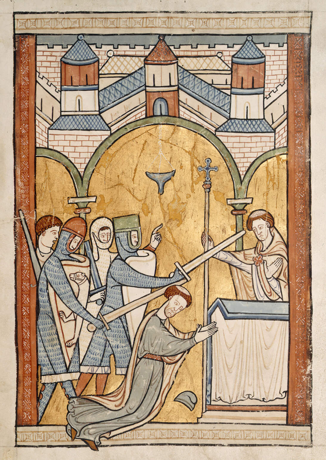 A 13th-century manuscript illumination, the earliest known depiction of Thomas Becket's assassination in Canterbury Cathedral, circa 1200.