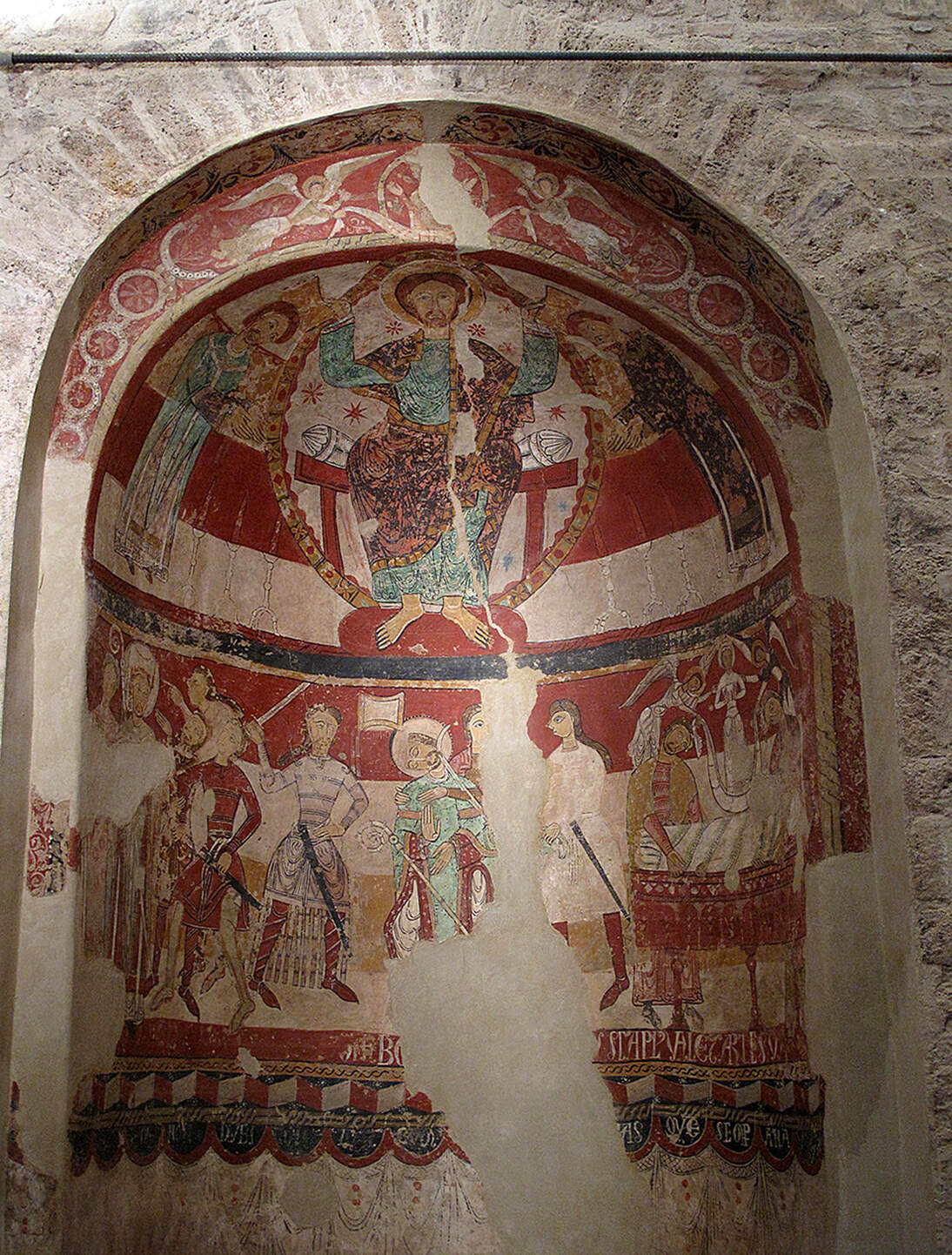 St Thomas Becket's consecration, death and burial wall paintings in Santa Maria de Terrassa (Terrassa, Catalonia, Spain), romanesque frescoes, c. 1200.