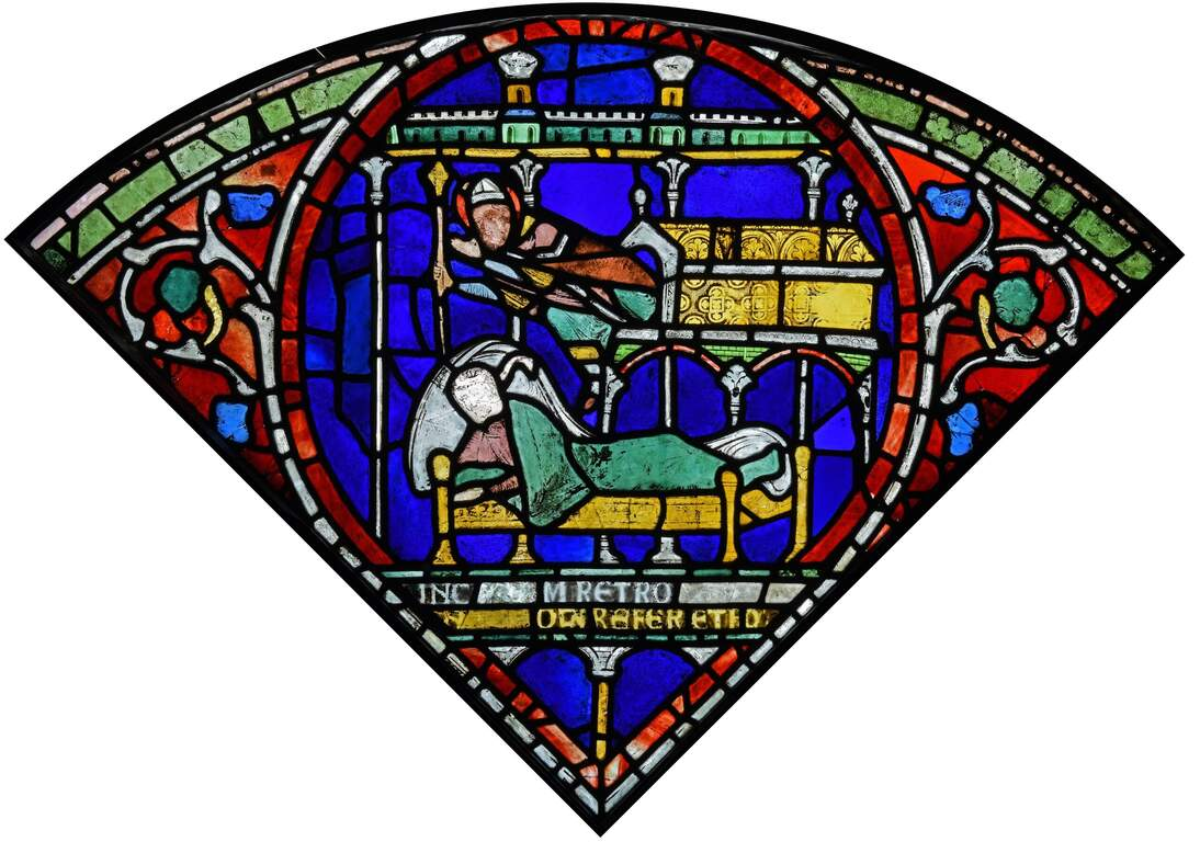 Stained-glass window; Thomas Becket Emerges from Shrine to Heal Sick Man, Canterbury Cathedral Trinity Chapel, nIII 45