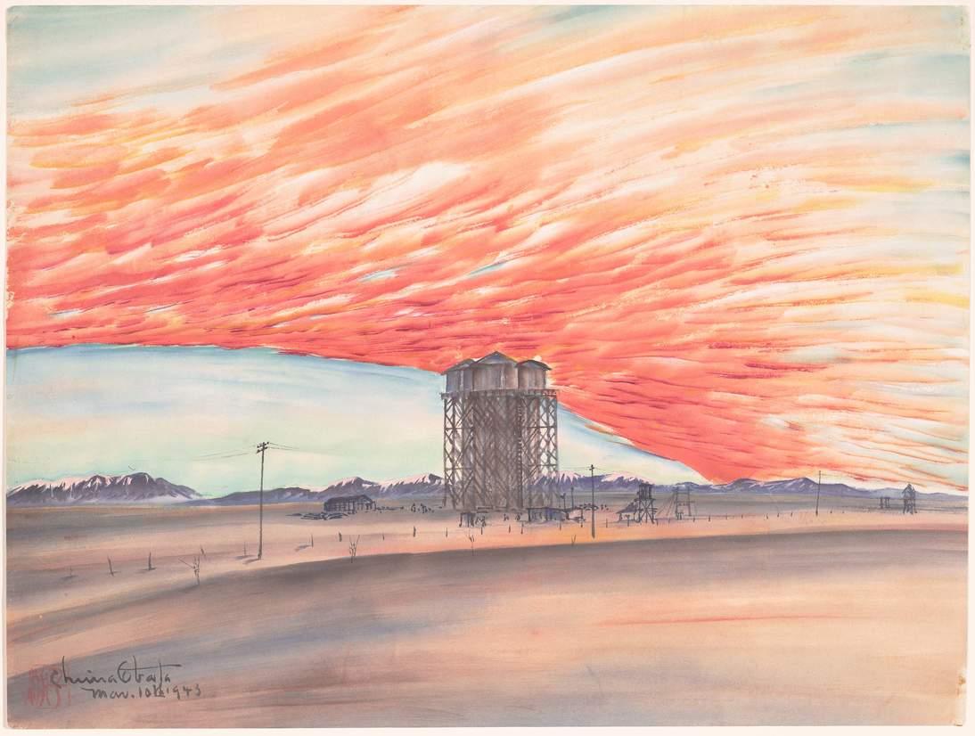 """Chiura Obata, """"Sunset, Watertower, March 10, 1943,"""" 1943. Ink, color, and mica on paper, 15 1/4 x 20 1/2 in. (38.7 x 52.1 cm). Fine Arts Museums of San Francisco, Museum purchase, Gift of the Achenbach Graphic Arts Council, 2001.28.1"""