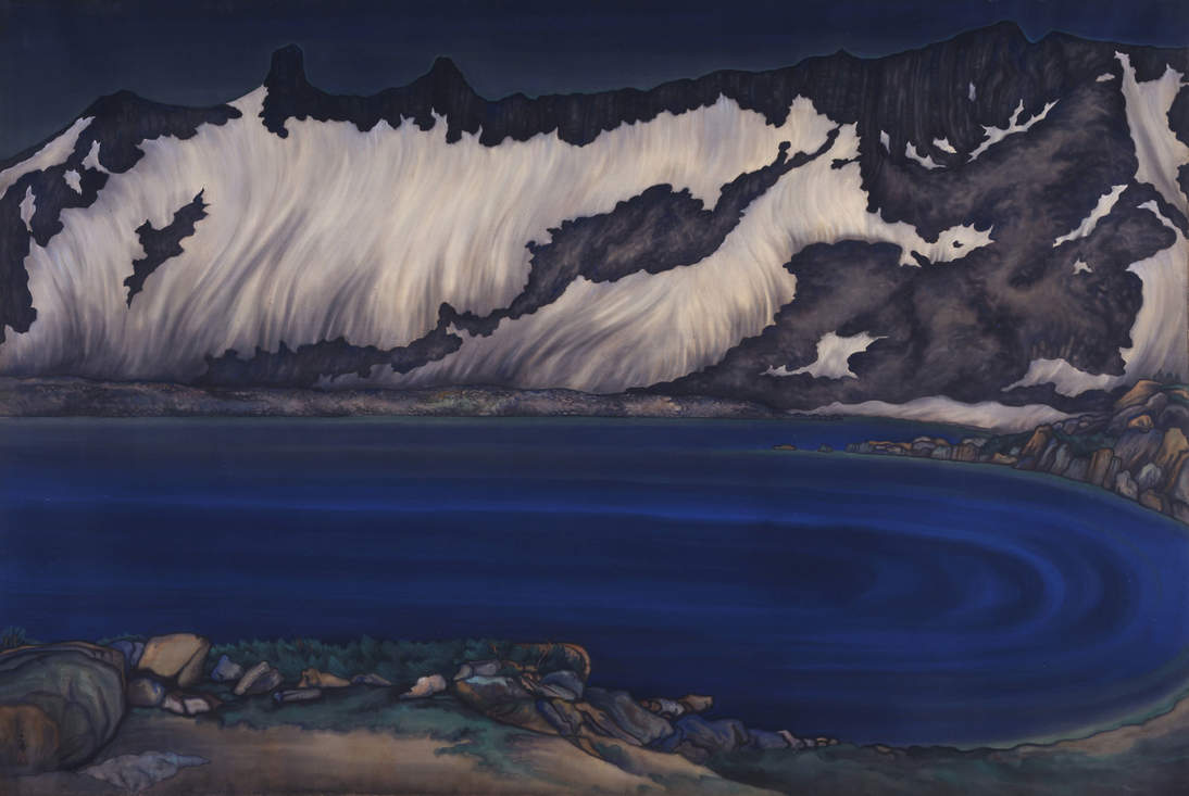 """Chiura Obata, """"Lake Basin in the High Sierra,"""" ca. 1930. Ink and color on silk mounted on paper, 69 1/2 x 102 1/2 in. (176.5 x 260.4 cm). Fine Arts Museums of San Francisco, Museum purchase, Dr. Leland A. and Gladys K. Barber Fund, 2000.71.1"""