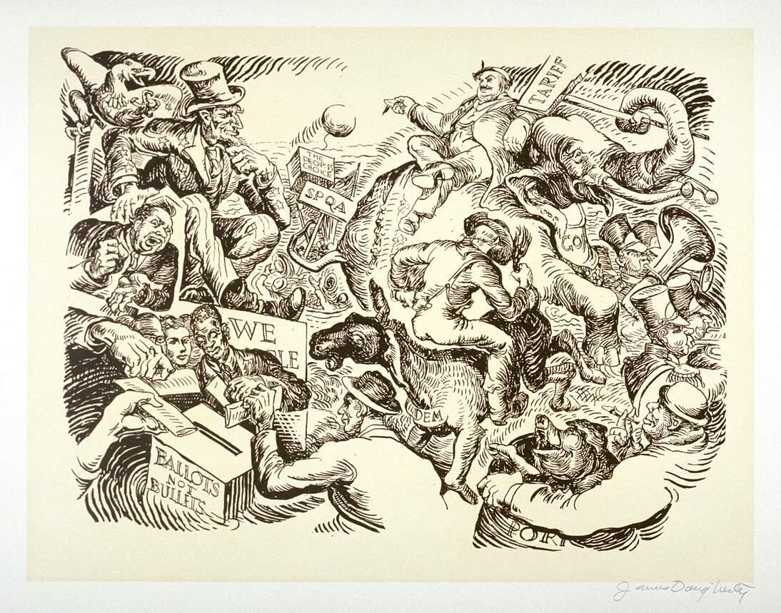 """James Henry Daugherty, """"Ballots not Bullets,"""" 20th century. 10 3/8 x 13 1/2 in. (26.4 x 34.2 cm). Fine Arts Museums of San Francisco, Gift of the artist, 1954.147.13"""