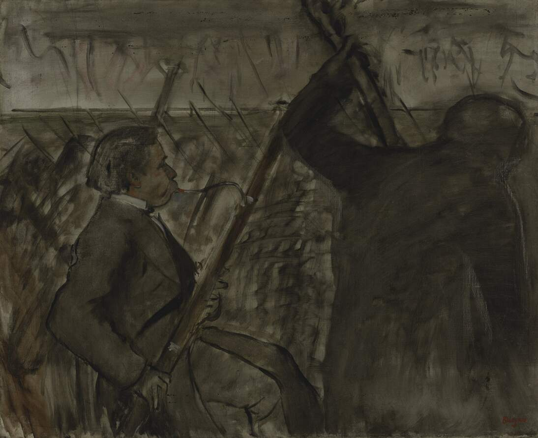 "Edgar Degas, ""Musicians in the Orchestra (Portrait of ,""Désiré Dihau),"" ca. 1870"