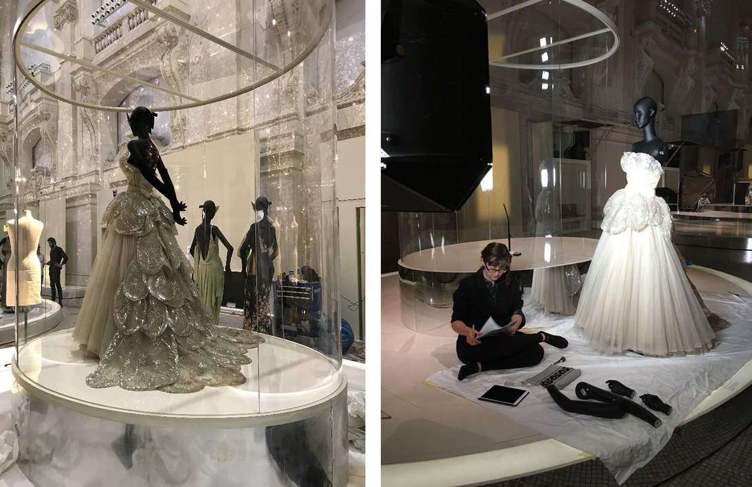 "(L) ""Venus"" in Paris. (R) The condition of the dress is checked at every stage; here associate conservator Anne Getts documents the condition of the ensemble before it is packed for its return trip to San Francisco."