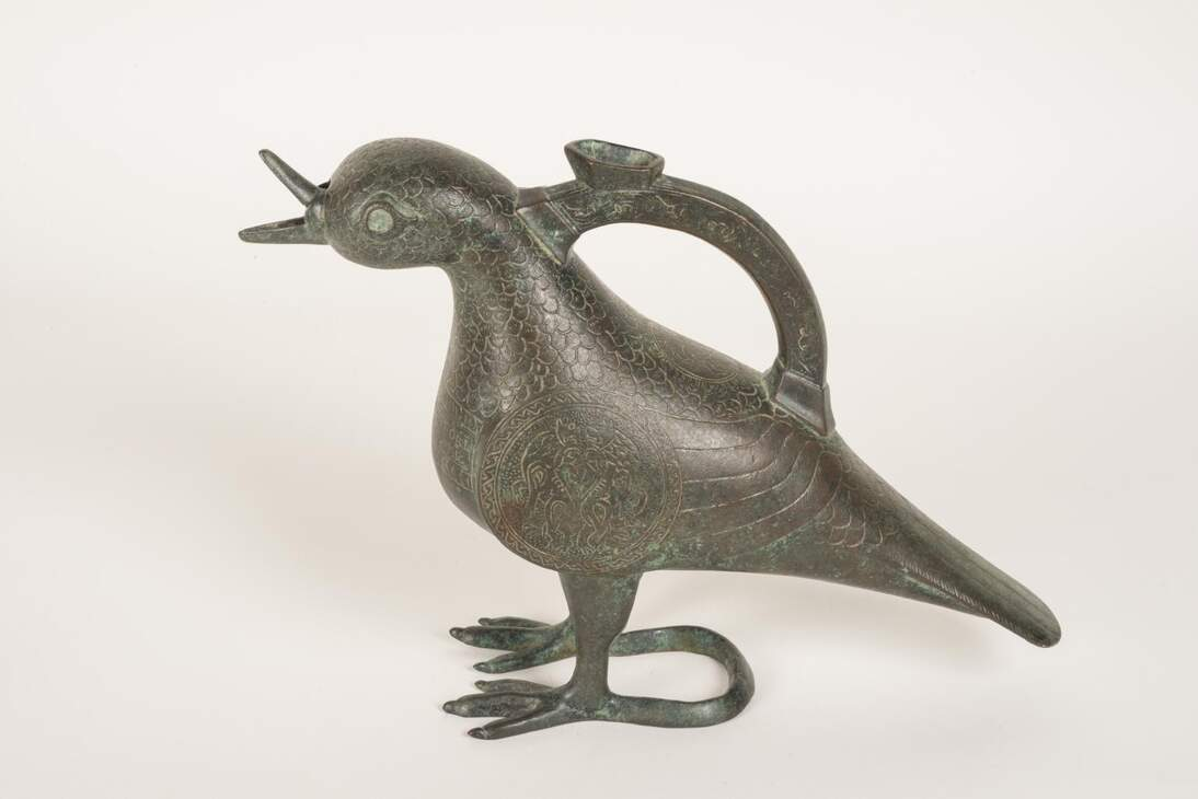 Aquamanile in the shape of a dove, Iran, ca. 1101-1300.  Bronze, National Archaeological Museum, Madrid