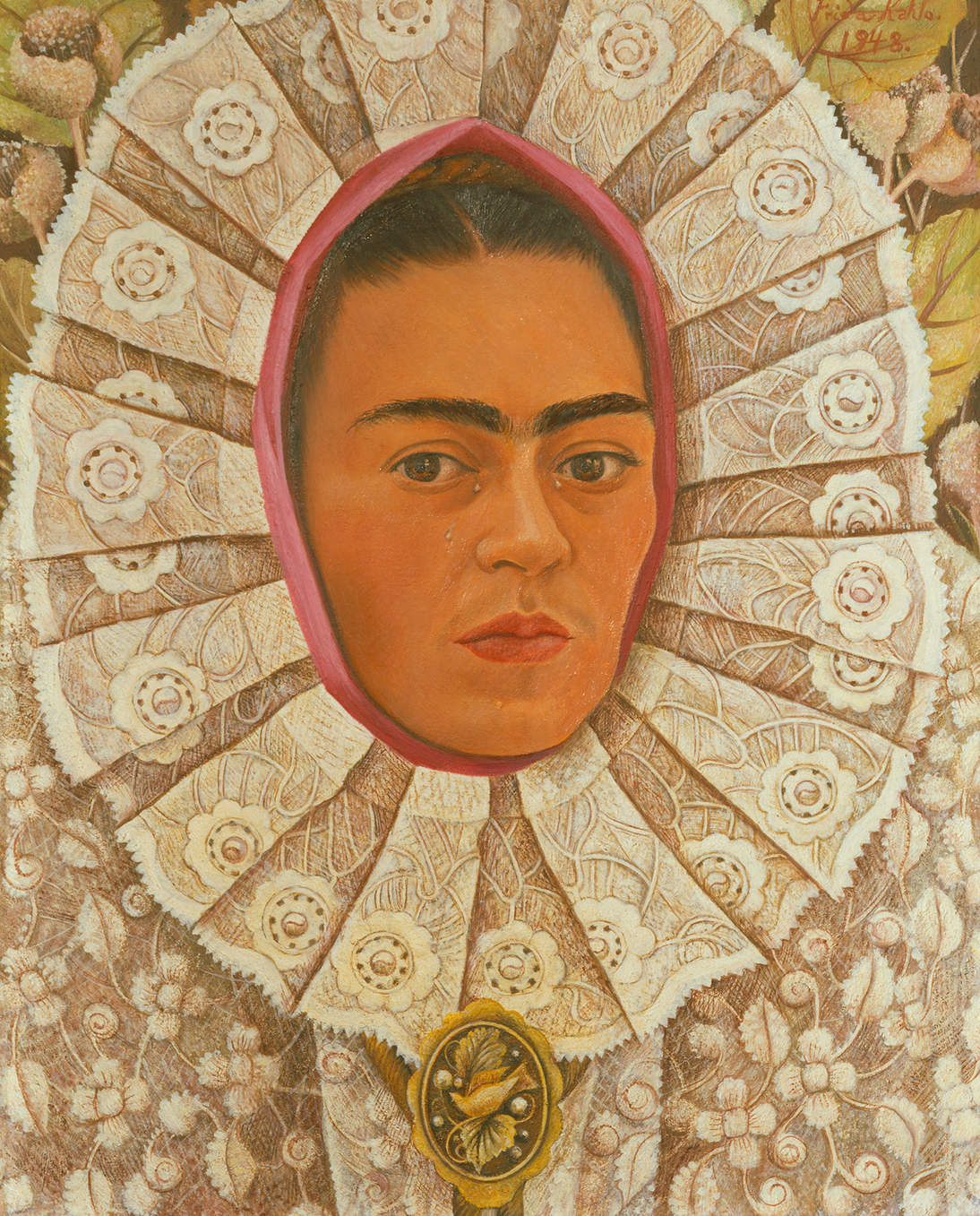 """Frida Kahlo, """"Self-Portrait,"""" 1948. Oil on Masonite, 20 x 15.6 in. (50 x 39.5 cm). Private collection © 2020 Banco de México Diego Rivera & Frida Kahlo Museums Trust. Av. 5 de Mayo No. 2, Col. Centro, alc. Cuauhtémoc, C.P. 06000, Mexico City / Artists Rights Society (ARS), New York / Erich Lessing / Art Resource, NY"""