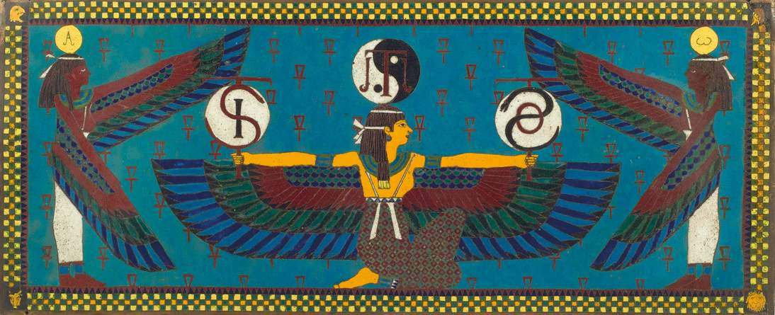 Panel with theosophical symbols, 1888. Cloisonné enamel on copper, 6 3/4 × 16 1/2 in. (17 × 42 cm). Private collection