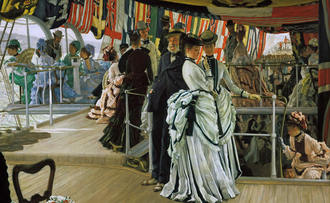 """The Ball on Shipboard"" (detail), ca. 1874. Oil on canvas, 33 1/8 × 51 in. (84.1 × 129.5 cm). Tate, London, Presented by the Trustees of the Chantrey Bequest, 1937, N04892"