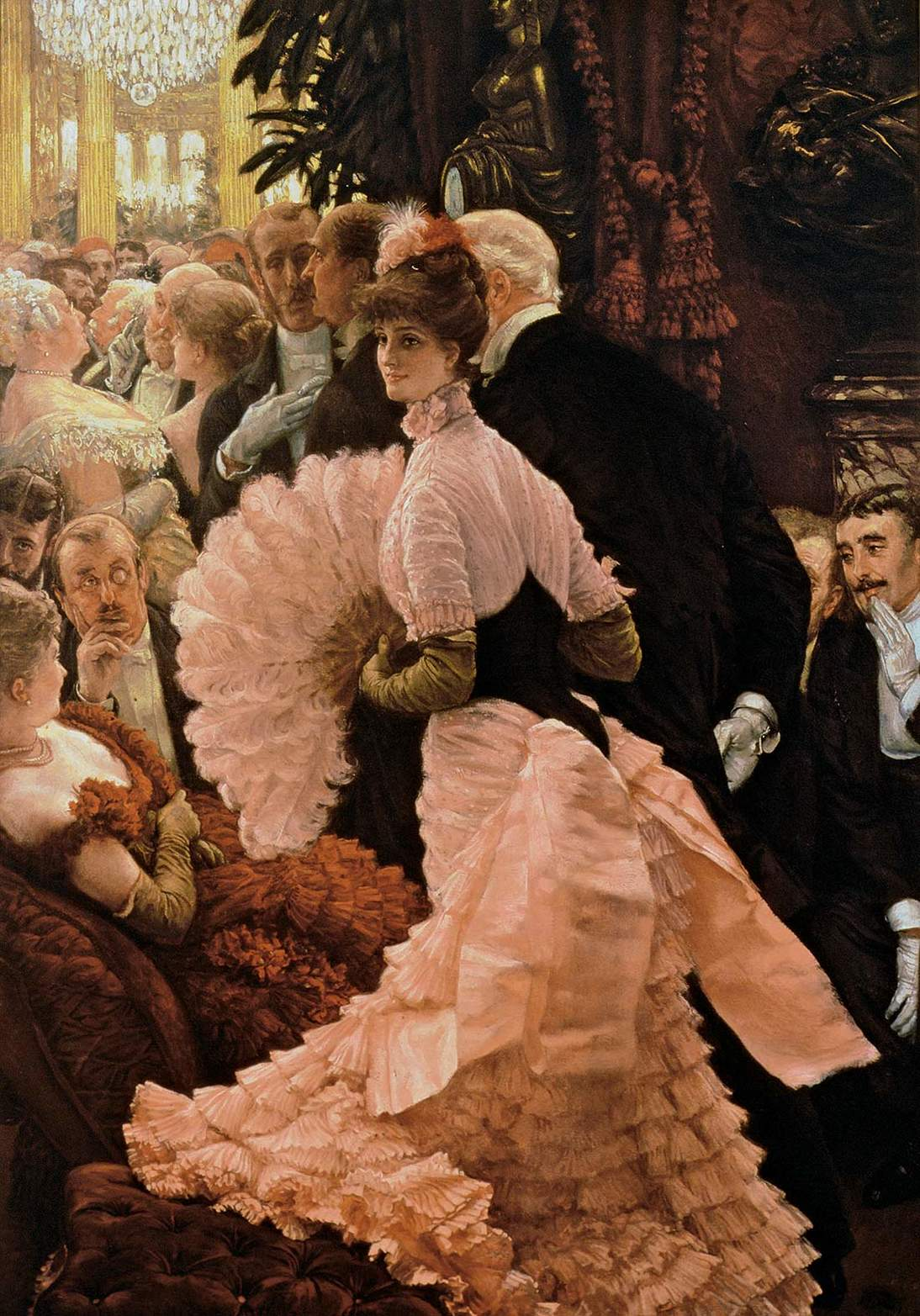 "James Tissot, ""L'Ambitieuse (The Political Woman),"" ca. 1883–1885. Oil on canvas, 56 x 40 in. (142.2 x 101.6 cm). Albright-Knox Art Gallery, Buffalo, New York, Gift of William M. Chase, 1909, 1909:10"
