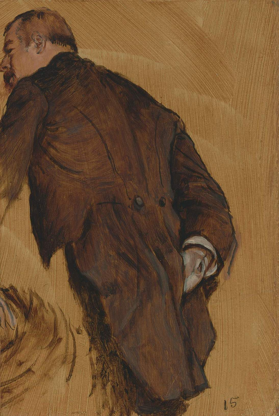 "Attributed to Edgar Degas, ""The Impresario,"" ca. 1877. Oil on paper board, 15 x 10 in. (38.1 x 25.4 cm). Fine Arts Museums of San Francisco, Gift of Mr. and Mrs. Louis A. Benoist, 1956.72"
