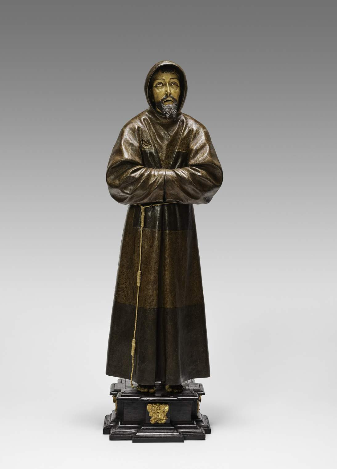"""Bernardo del Rincón, """"Saint Francis,"""" ca. 1650. Polychrome wood, glass, and rope, height 43 ½ in. (110.5 cm). Fine Arts Museums of San Francisco, Museum purchase, Gift of Bank of America, by exchange, 2018.20"""