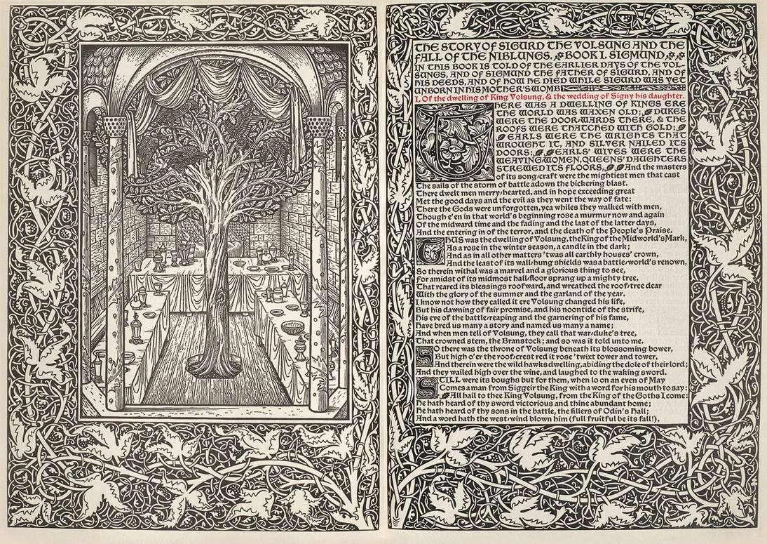 "Page from ""The Story of Sigurd the Volsung and the Fall of the Niblungs"", illustration by Edward Burne-Jones with border decoration by William Morris, printed by William Morris at Kelmscott Press, Hammersmith. Woodcut, 12 ¼ x 9 ¼ in. (32.5 x 23.5 cm). Fine Arts Museums of San Francisco, Achenbach Foundation for Graphic Arts, Gift of the Reva and David Logan Foundation, 1998.40.109.1-2"